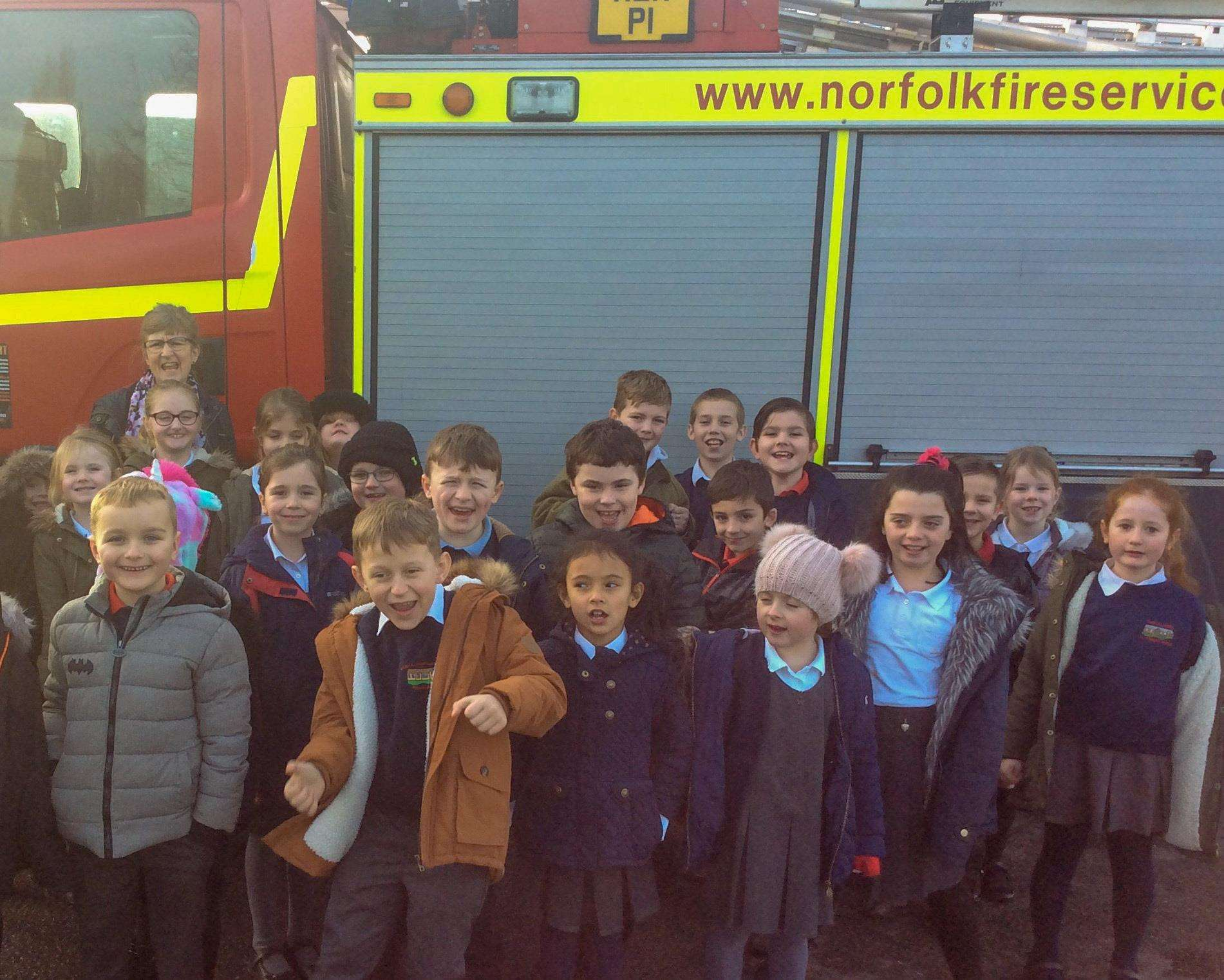 Pupils at Tilney All Saints school enjoyed a visit by King's Lynn firefighters and their fire engine. (7092956)
