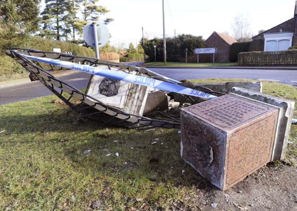 THe War Memorial at Bircham, completely Demolished by a vehicle over the weekend ANL-150902-121259009