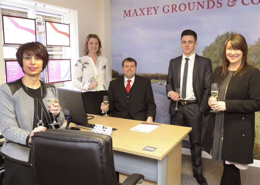 Maxey Grounds Opens March'Staff in the new office, LtoR, Nikki Smith, Louiza Powter, Alan Faulkner, Tom Coltman, Linda Ward ANL-160323-203022009
