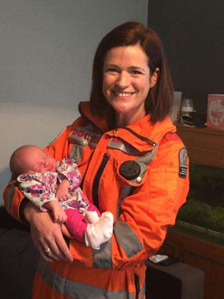 Dr Anne Booth with baby Daphne-Louise. Photo: Magpas Air Ambulance.