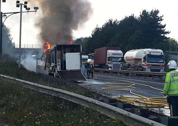 The horsebox fire on the A14
