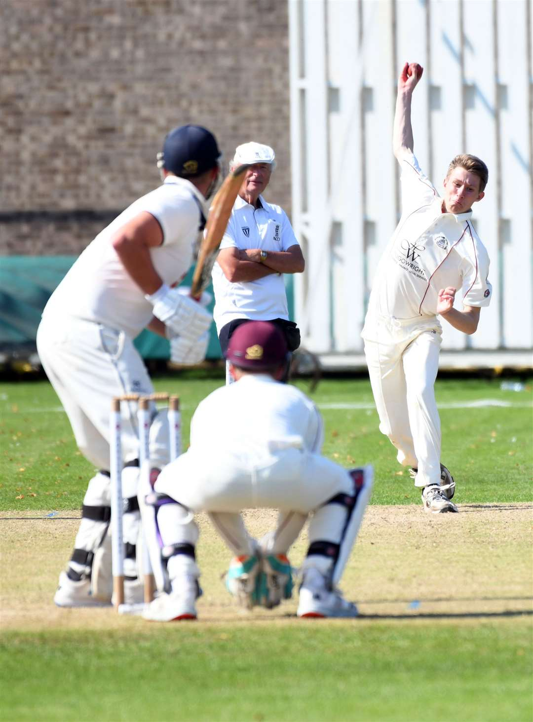 Sam Clarke bowling for March against Wisbech in their Rutland League clash back in September.