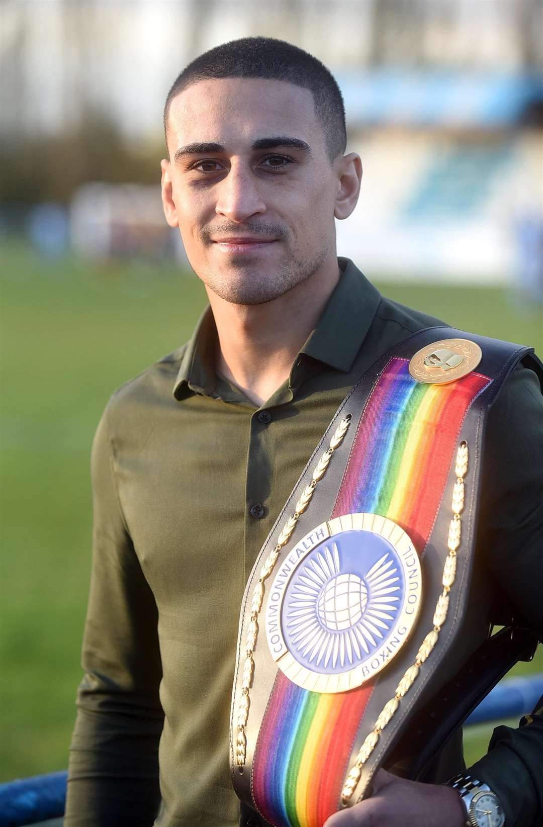 Jordan Gill at Chatteris Town FC with his Commonwealth Title. (5191505)