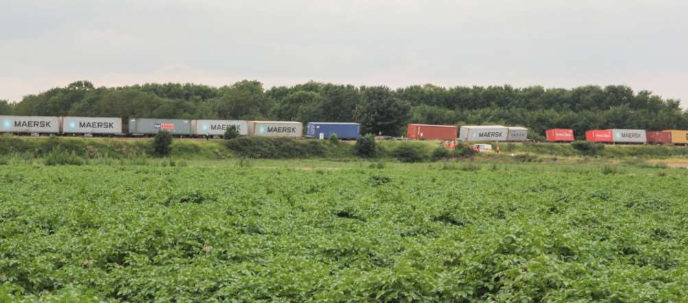 Freight train derailment just outside of Ely near Prickwillow - the shot clearly shows a number of wagons off the track.