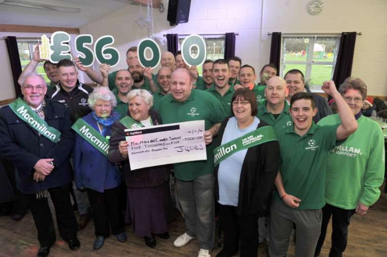 �5500 cheque presentation from Macmillan FC to Wisbech branch at Macmillan ANL-141215-215611009
