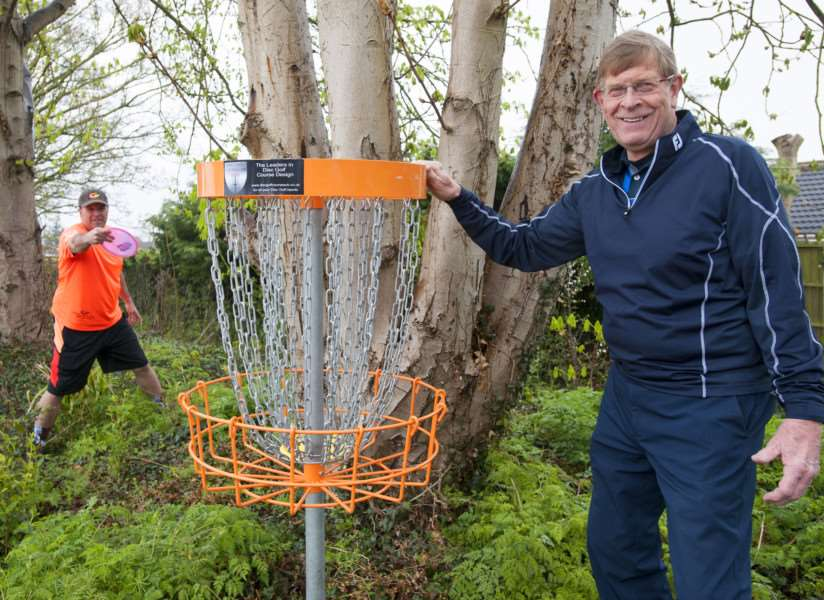Eagles Golf Centre Tilney. Pictured on right David Horn with his disc golf. with Steve Kornmuller. ANL-160416-100258009