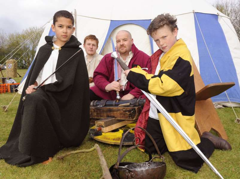 St George's Day Spring Fayre at Marshland St James Playing Field, iao new building fund at the playing field.''Group from Phoenix Medieval Re-enactment Group, LtoR, Jayden Cole, Thomas Wyatt, Graham Wyatt, Cody Wyatt ANL-160425-072411009