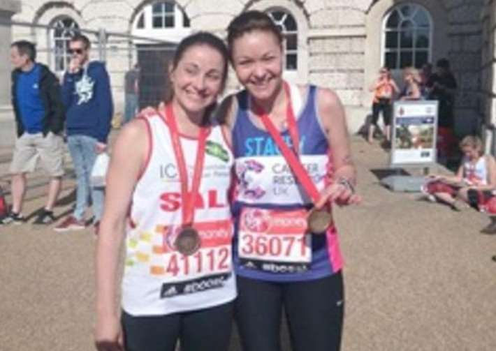 Sallyanne Ellington and Stacey Rudd start their charity trilogy in memory of their dad with the London Marathon in 2014.