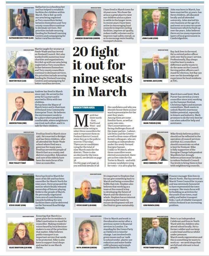 Fenland prepares to go to the polls - here is a round-up of candidates published in this week's Citizen. (9461373)