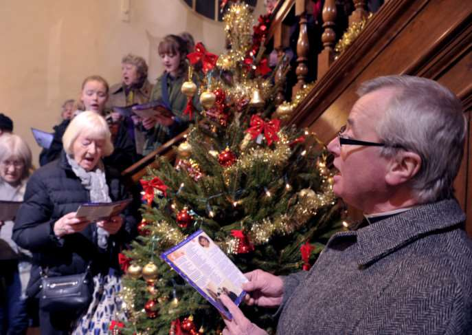 Kings Lynn Congregational Choir singing carols at The Custom House Kings Lynn ANL-141221-214606009