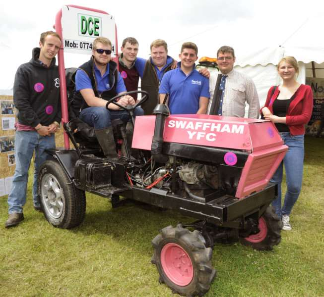The Royal Norfolk Show Norwich Wednesday June 29th 2016'Swaffham Young Farmers'LtoR, Kyran List, Laurence Gibbs, Andy Colman, Liam Cooper, Louis Cooper, Jason Carnell, Chloe Francis ANL-160629-184229009