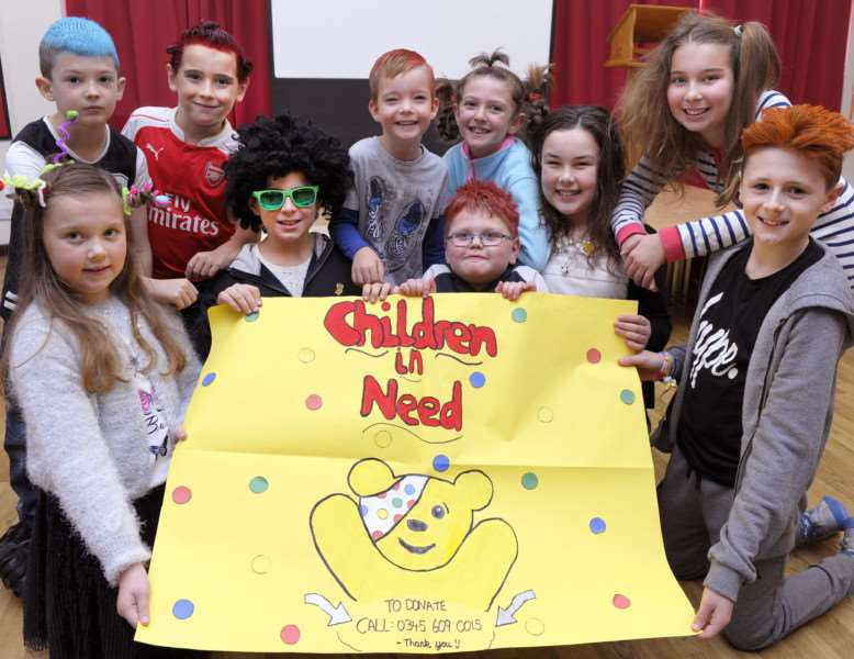Burrowmoor Primary School in March, 'Pupils involved in the crazy hair day for Children In Need Appeal ANL-161118-154314009