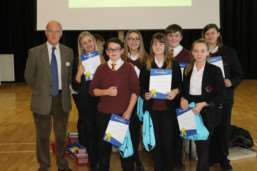 Fenland district councillor Fred Yeulett with youngsters from Neale Wade Academy