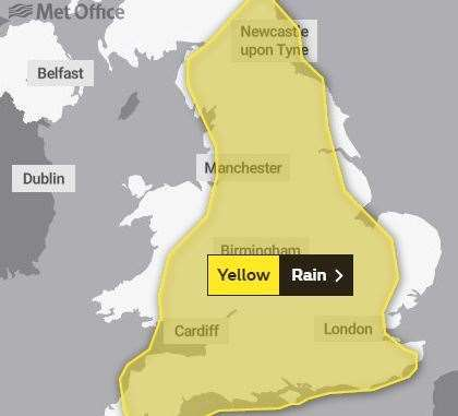 A Yellow weather warning is in place for much of England and Wales today (17393835)