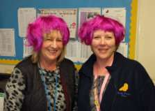 Sue Green, Secretarial Assistant and Jackie Brenchley, Teaching Assistant, are getting ready for Wig Wednesday