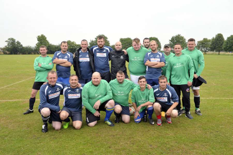 Macmillan FC at the start of the 19-hour football marathon.