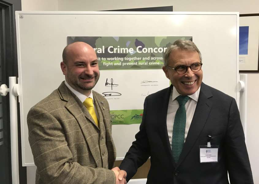 Coun Marc Jones and Lorne Green after signing the four-county Rural Crime Concordat.