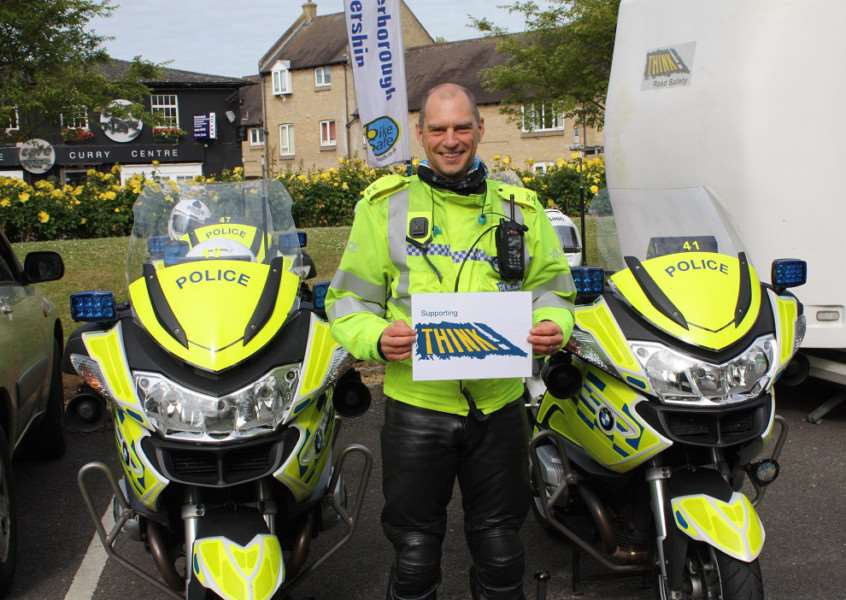 Traffic Sergeant Ian Manley showing his support for the Think! Bike campaign.