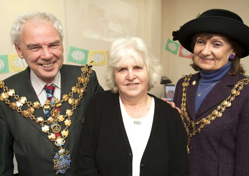 30 yrs Service for C.A.B Volunteer Mary Grevatt. FLtoR Wisbech Mayor David Hodson. Mary Grevatt. Mayoress Judy Hodgson. ANL-160119-150105009