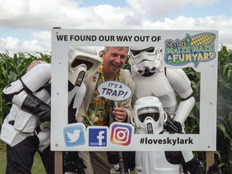 Tim Rose and Storm Troopers celebrate their trip into the maize maze at Skylark.