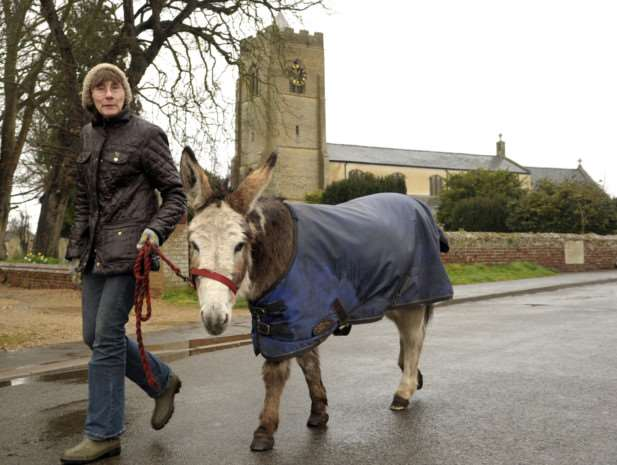 Palm Sunday parade led by a donkey at Wisbech St Mary Church ANL-150329-164358009