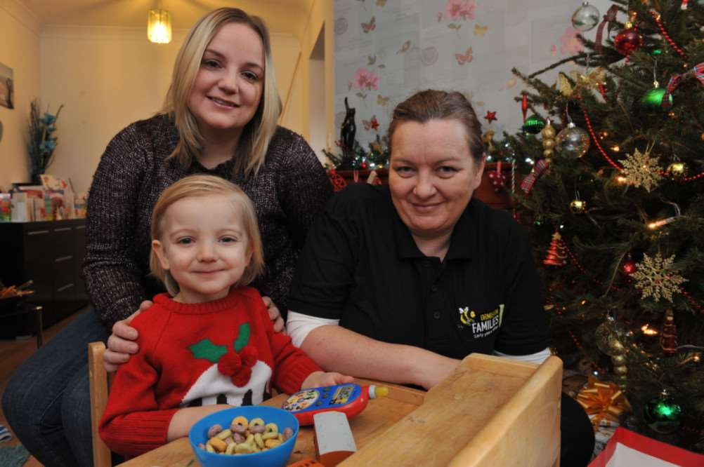 Jo Polley (left) with 3 year old Ashton and Louise Garner of Ormiston Children and Families Trust. ANL-141216-120846009