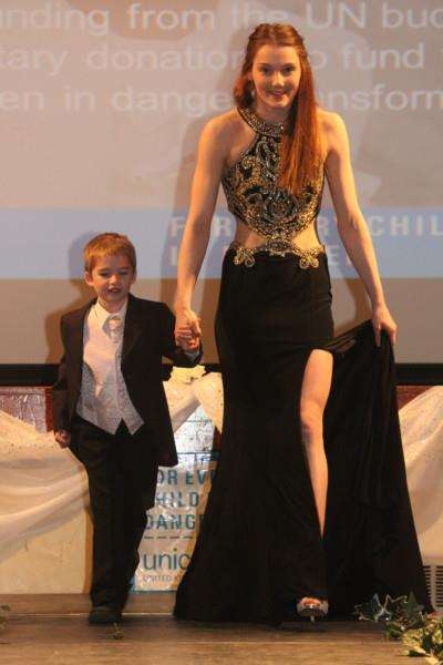 Two of the star models who strutted their stuff in the Unicef fashion show at Wisbech Grammar School.