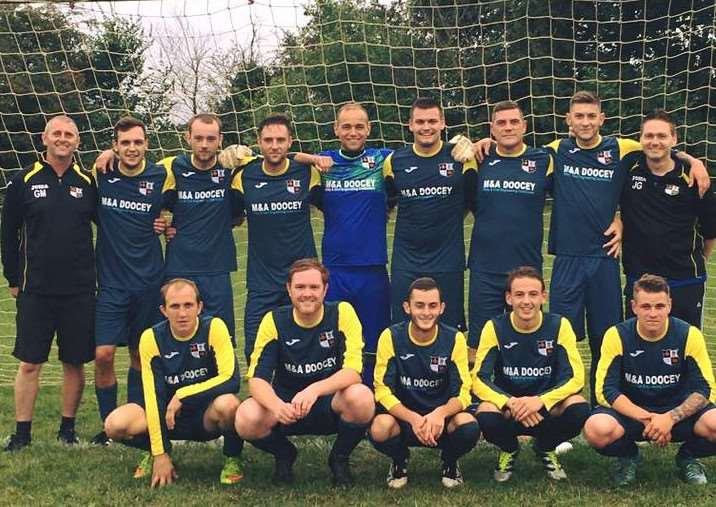 Benwick Athletic in their new kit First Team sponsored by M&A Doocey. Bt8x7J7lp9Gc_LQ1rI3k