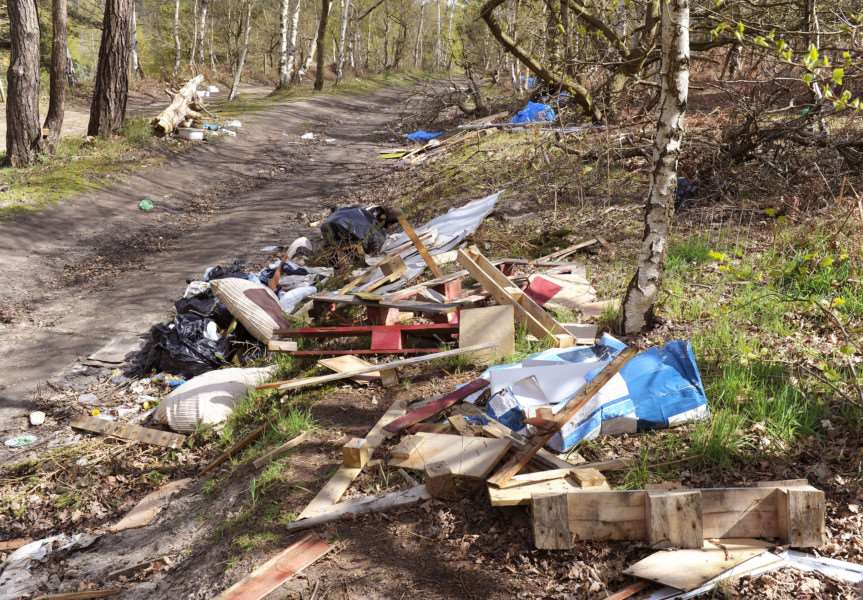 Some of the large amounts of rubbish which has be dumped around the woodland area surrounding Bawsey Lakes ANL-160426-171108009