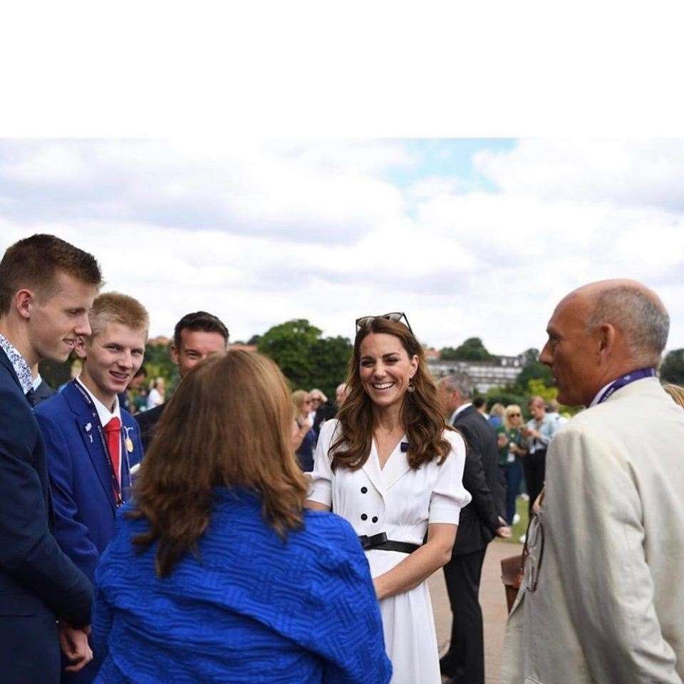 Simon Grainger collects the Lawn Tennis Association's Lifetime Achievement Award and meets the Duchess of Cambridge. Photo: Facebook/Matty Grainger. (13389690)
