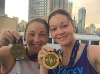 Sisters Sallyanne Ellington (left) and Stacey Rudd who are running the Paris Marathon for Cancer Research UK
