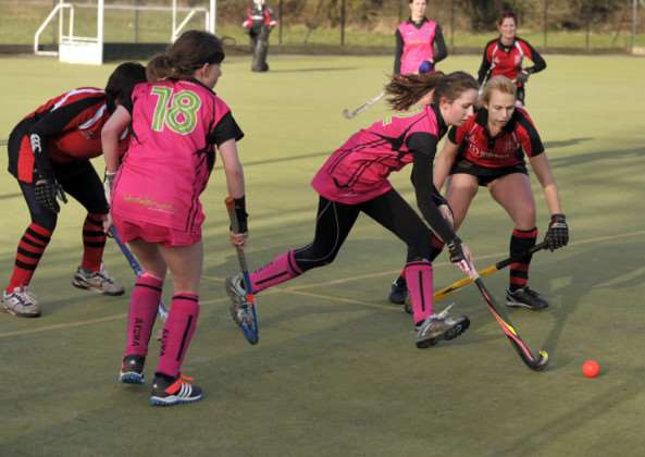 Hockey action Wisbech Ladies 2nd v Alford & District 1 ANL-150126-091428009