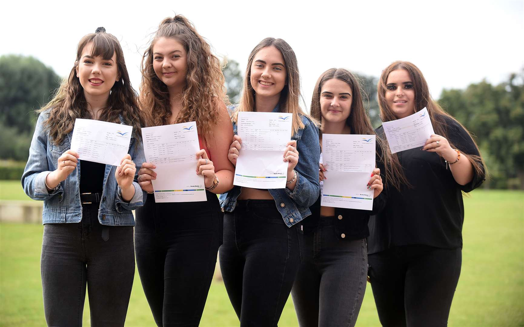 From left: Clodagh Williams, Ellie Lovegrove, Kala Amor, Jurgita Pleinyte, and Shelby Sage with their results.