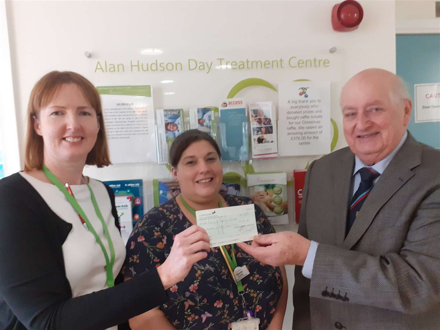 The Fenland Farmers Masonic Lodge presented a cheque for £650 to Michelle [Matron] ,and Allison of the Alan Hudson Day Treatment Centre in Wisbech (27184416)