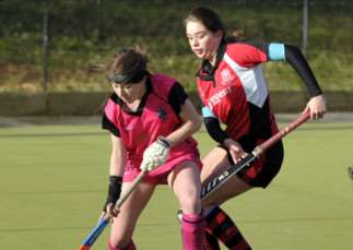 Hockey action Wisbech Ladies 2nd v Alford & District 1 ANL-150126-091438009