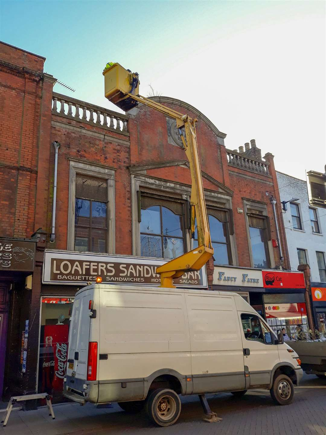 Gutters on shops in wisbech are set for a clear out. (5486136)