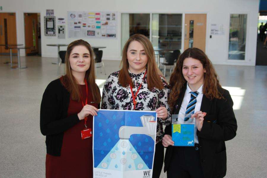 Promoting the new fundraiser at the Thomas Clarkson Academy are, from left, head girl Beth Keeley, sixth form student Abbie Murray and student Alicia Baghdouyan.