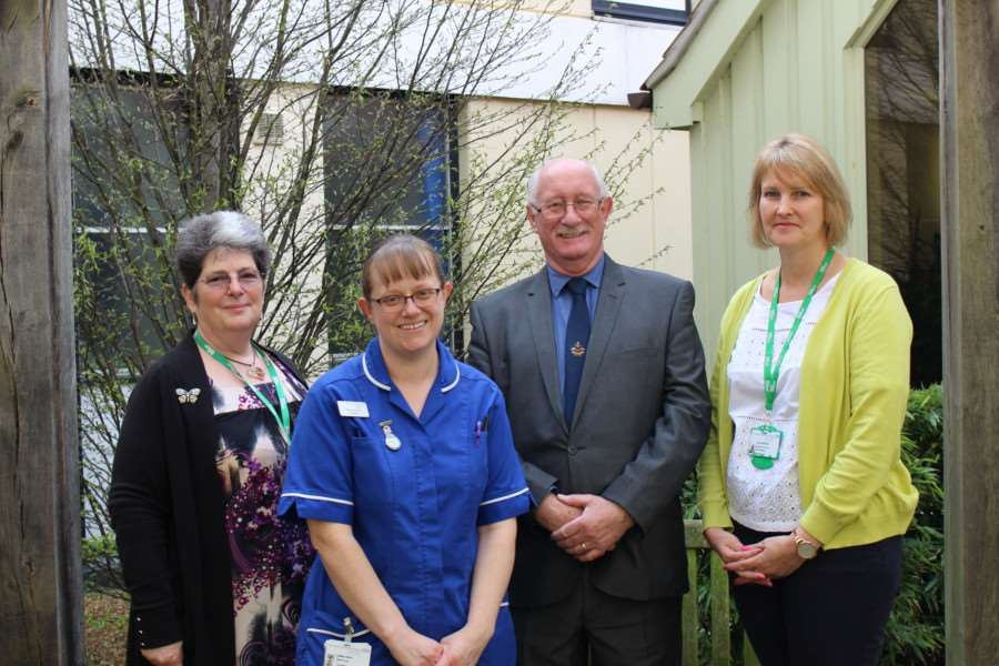 Alexis Mack, Macmillan, Emma Wren, Shouldham ward, Richard Ashby and Vicky Mitchell, Macmillan, at the QEH. ANL-160414-105445001