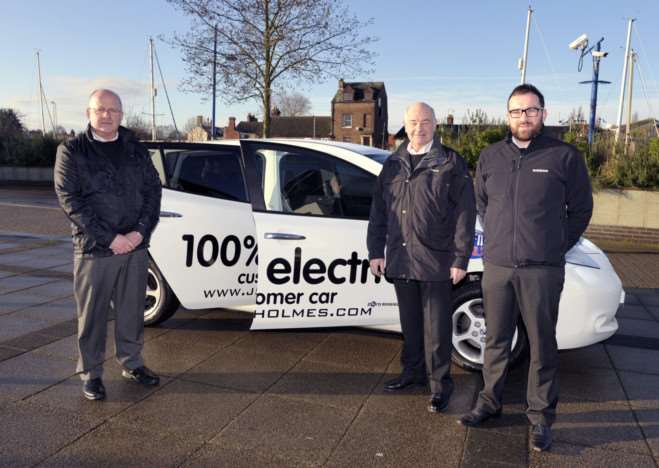 J S Holmes Ltd running an electric vehicle workshop at the Boathouse in Wisbech'left to right Jeff Smith, John Day and Alex Holmes ANL-150128-084332009