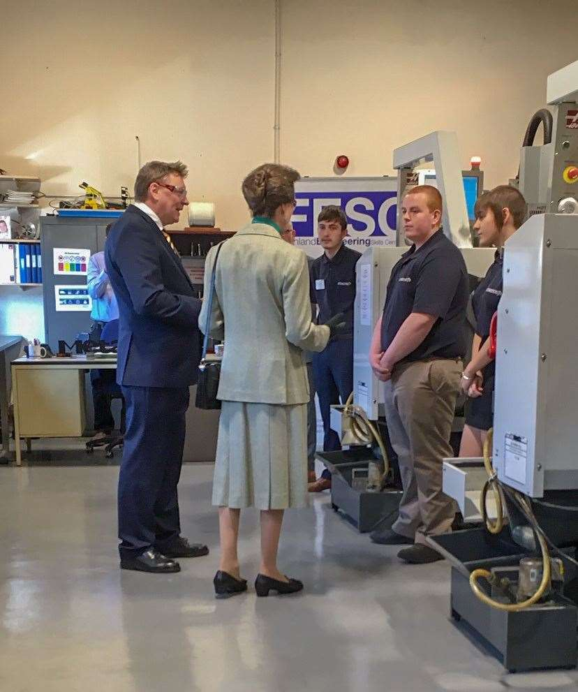 Princess Anne chats to apprentices during her visit. (8155303)