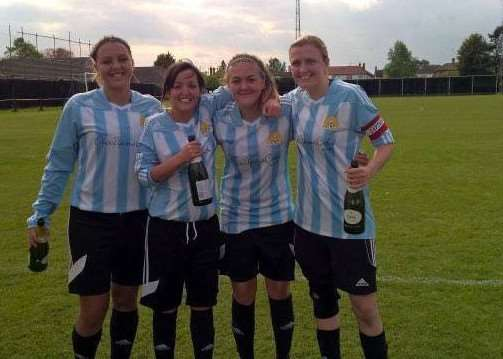 March players celebrating winning the league (left to right: Adele Munday, Kayleigh Churchyard, Shannon Kelly and Jade Pointer).