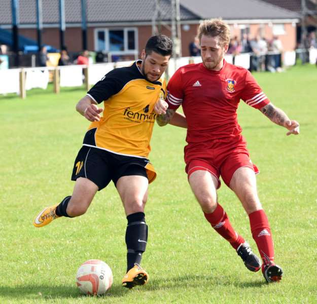 March Town FC v Stowmarket FC Football Action ANL-150921-070108009
