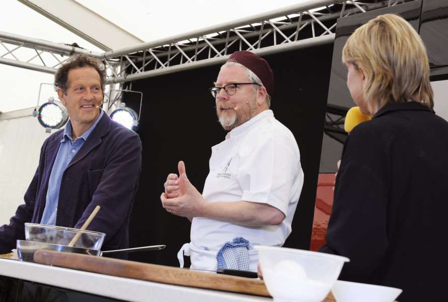 The Royal Norfolk Show Norwich Wednesday June 29th 2016'BBC TV Gardeners World presenter Monty Don at the Grow it, Cook it, Eat it stage, with chef Richard Hughes and Mary Kempe ANL-160629-184316009