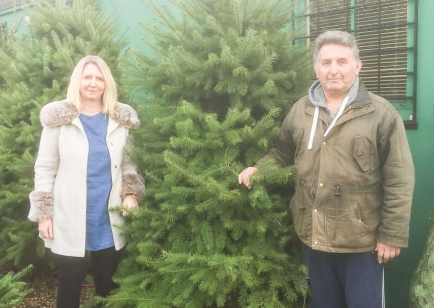 Donna Rudolph with Christmas tree supplier Fred Bassett from Wisbech and her chosen tree.