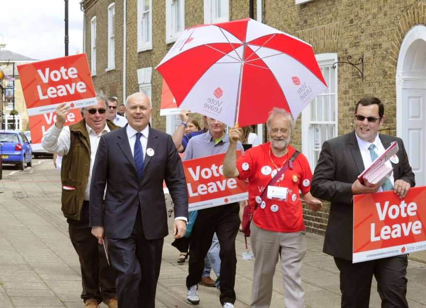 Iain Duncan Smith on Vote Leave Campaign walking through Chatteris Town Centre on Tuesday 21st June 2016 ANL-160621-132557009