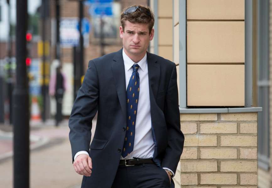 Henry Bett, son of Norfolk's Police and Crime Commissioner Stephen Bett, pictured at Huntingdon Crown Court where he is standing trial for causing death by dangerous driving. July 6 2015. NEWSTEAM/SWNS ANL-150707-172537001