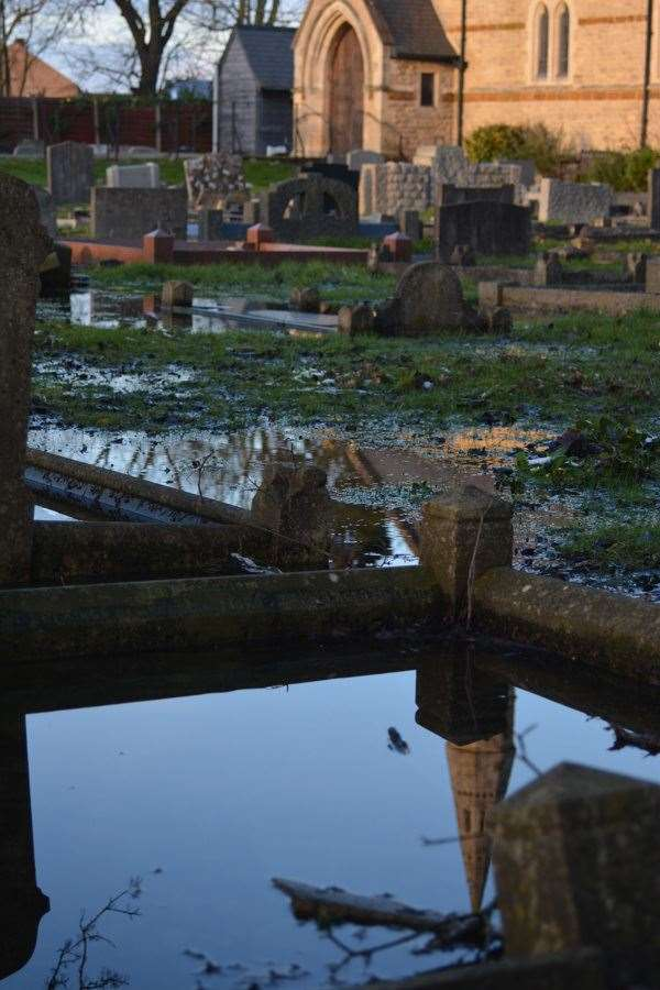 St Mary's Churchyard and church hall have been flooded twice in the past six weeks. (44370485)