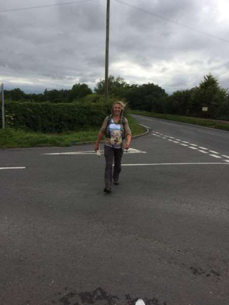 Linda Blatchly walked Hadrian's Wall in memory of her dad Mike Brown. End of day one at 7pm at Wallhouses.