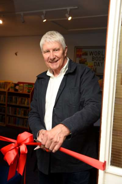 Author Nick Butterworth at the opening of Elm School new library