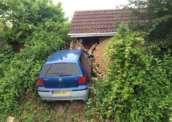 Car crashes into house in Wisbech (picture from @FenCops)